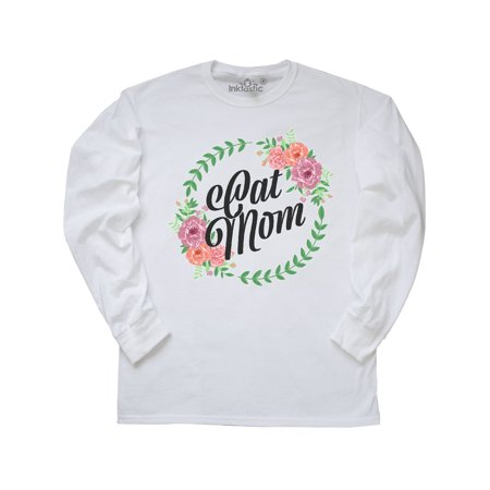 Cat Mom with Flower Circle Illustration Long Sleeve T-Shirt