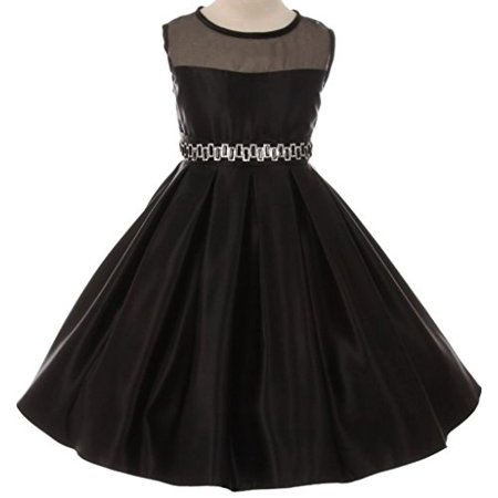 Flower Girl Dress Organza Contrast Satin Dull Satin Flared Dress for Big Girl Black 10 GG.3574