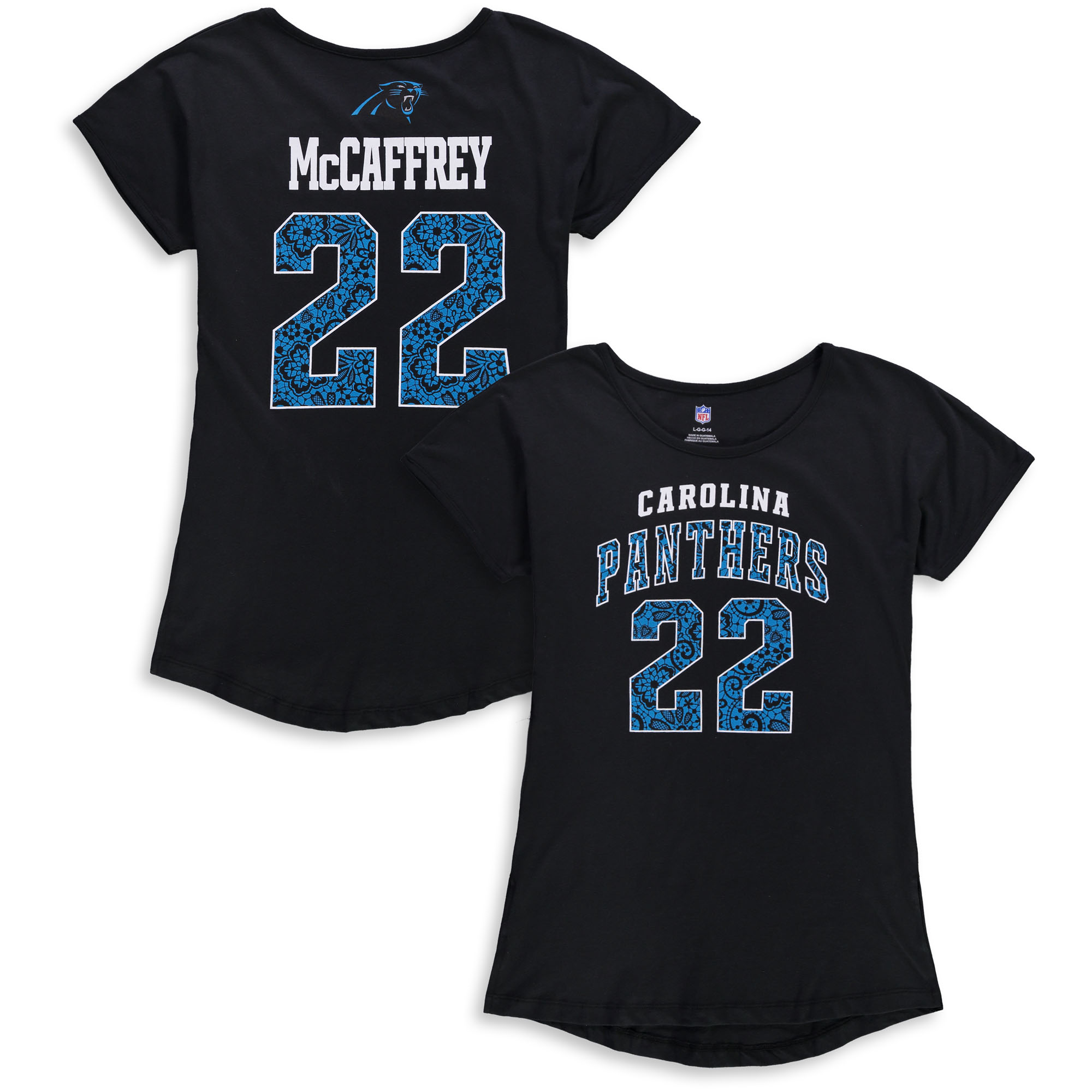 Christian McCaffrey Carolina Panthers Girls Youth Dolman Lace Player Name & Number T-Shirt - Black