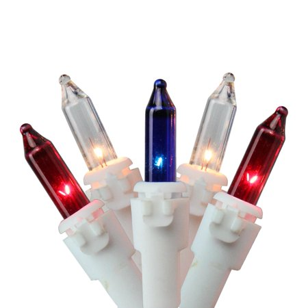 Patriotic Christmas Lights.Set Of 150 Patriotic Red Clear And Blue 8 Function Christmas Lights White Wire
