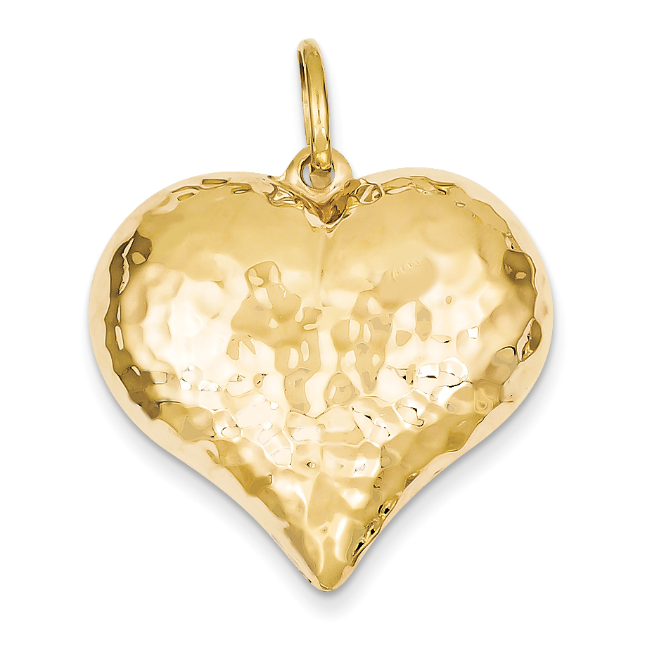 Roy Rose Jewelry 14K Yellow Gold Hollow Polished Hammered Large Puffed Heart Charm