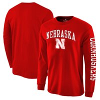 Nebraska Cornhuskers Fanatics Branded Distressed Arch Over Logo Long Sleeve Hit T-Shirt - Scarlet