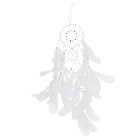 LED Light Spider Web Dream Catcher Home Network Decoration Pendant Car Feather