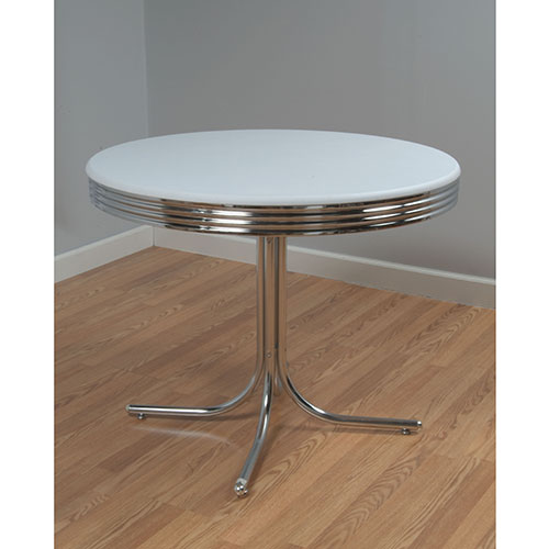 Retro Dining Table, White And Chrome