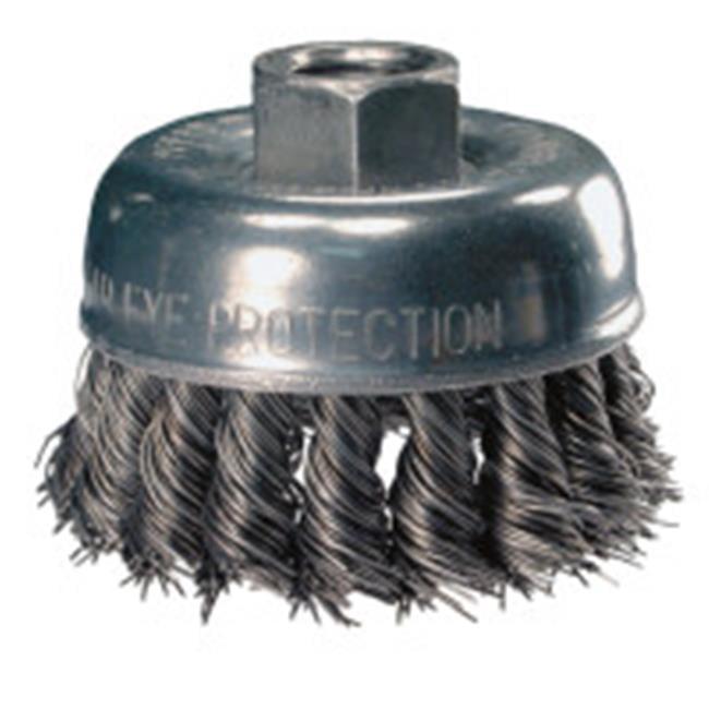 Carbon Steel Bristles 0.020 Wire Size 5//8-11 Thread 3-1//2 Diameter Threaded Hole 12500 Maximum RPM PFERD 82255 Power Crimped Wire Cup Brush