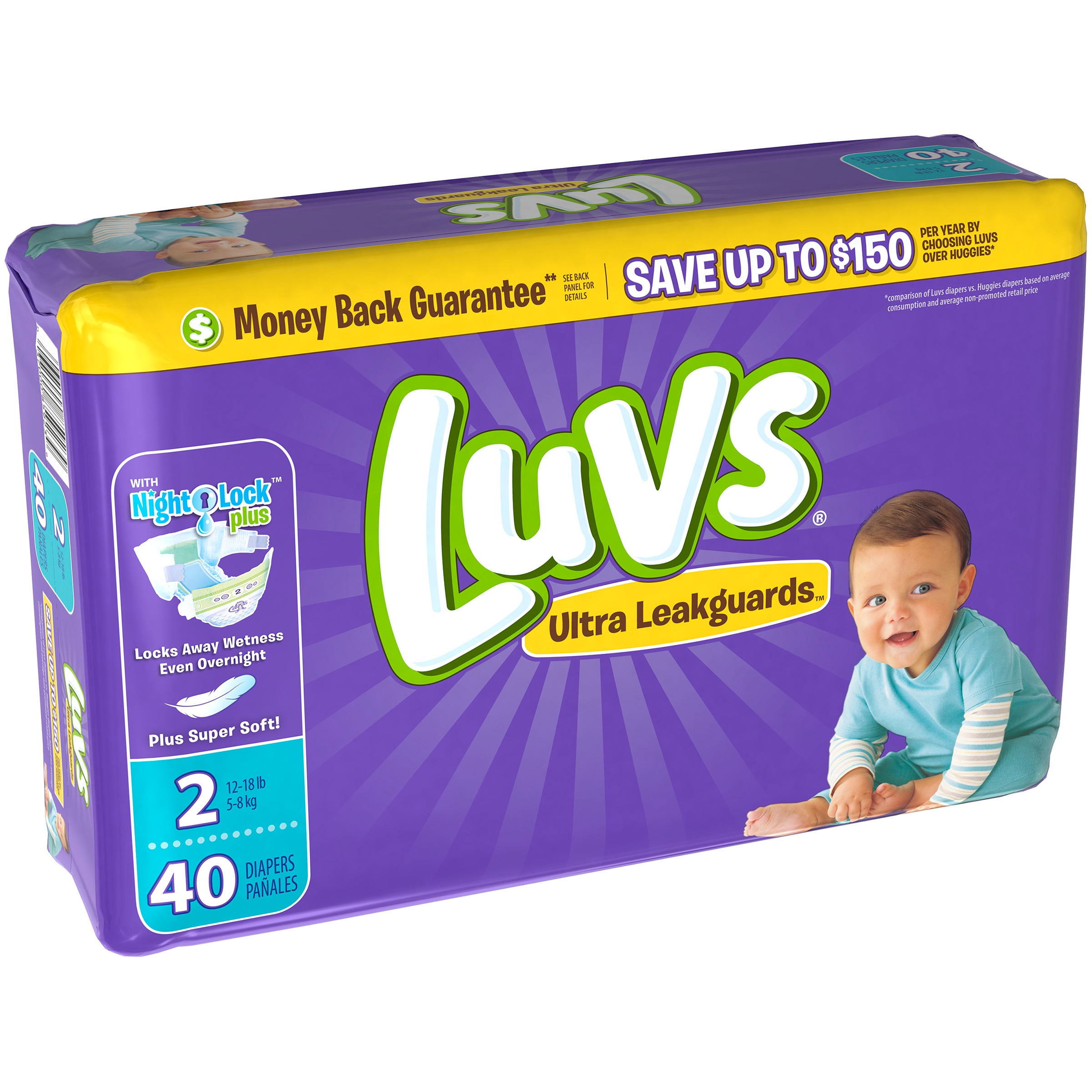 Luvs Ultra Leakguards Diapers, Size 2, 40 Diapers