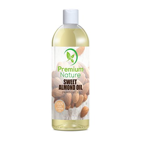 Sweet Almond Oil 16 oz - Carrier Oil, Cleansing Properties, Evens Skin Tone, Treats Irritated Skin, Nourishes, Moisturizes & Prevents Aging- By Premium (Almond Moisturizing)