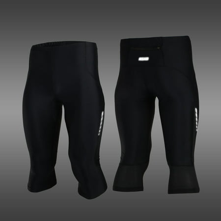 ARSUXEO Stretch Breathable Quick-Drying Compression Shorts Men's Cycling Running Tights Shorts 3/4 Length Pants