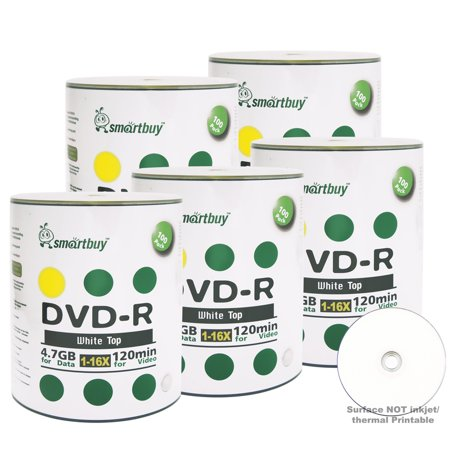 Top Form Data (500 Pack Smartbuy 16X DVD-R 4.7GB 120Min White Top (Non-Printable) Data Blank Media Recordable Disc )