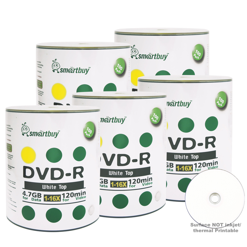 500 Pack Smartbuy 16X DVD-R 4.7GB 120Min White Top (Non-Printable) Data Blank Media Recordable Disc