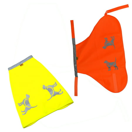 Hqrp Two High Visibility Dog Safety Vests For Protecting Pets From Cars   Hunting Accidents  Fluorescent Yellow   Orange