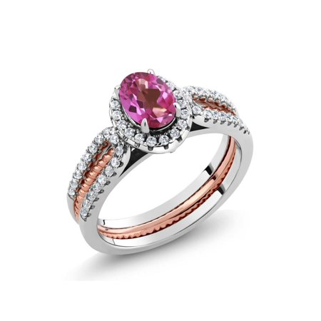 1.42 Ct Pink Mystic Topaz 925 Two-Tone Sterling Silver Wedding Band Insert Ring - image 3 de 3