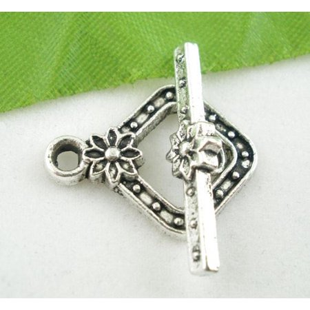 Sexy Sparkles 3 Sets Antique Silver Square Toggle Clasps 20mm (3 toggle clasp & 3 bar bead connector link)