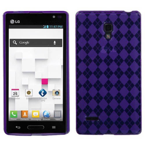 LG P769 Optimus L9 MyBat Candy Skin Cover, Purple Argyle