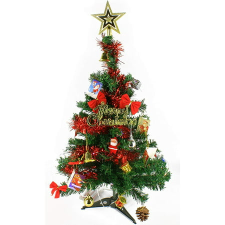 Wideskall® 2 Feet Tabletop Artificial Mini Green Christmas Pine Tree with 30 Multi-Color LED Lights & Ornaments