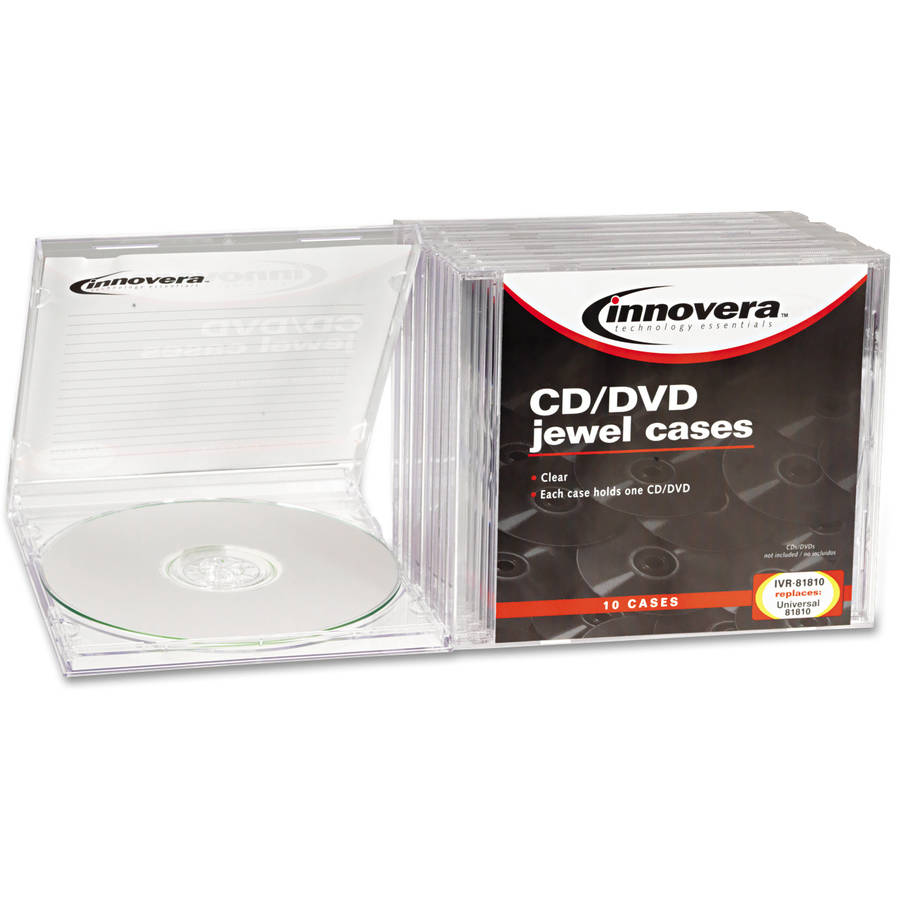 Innovera CD/DVD Standard Jewel Cases, Clear, 10/Pack