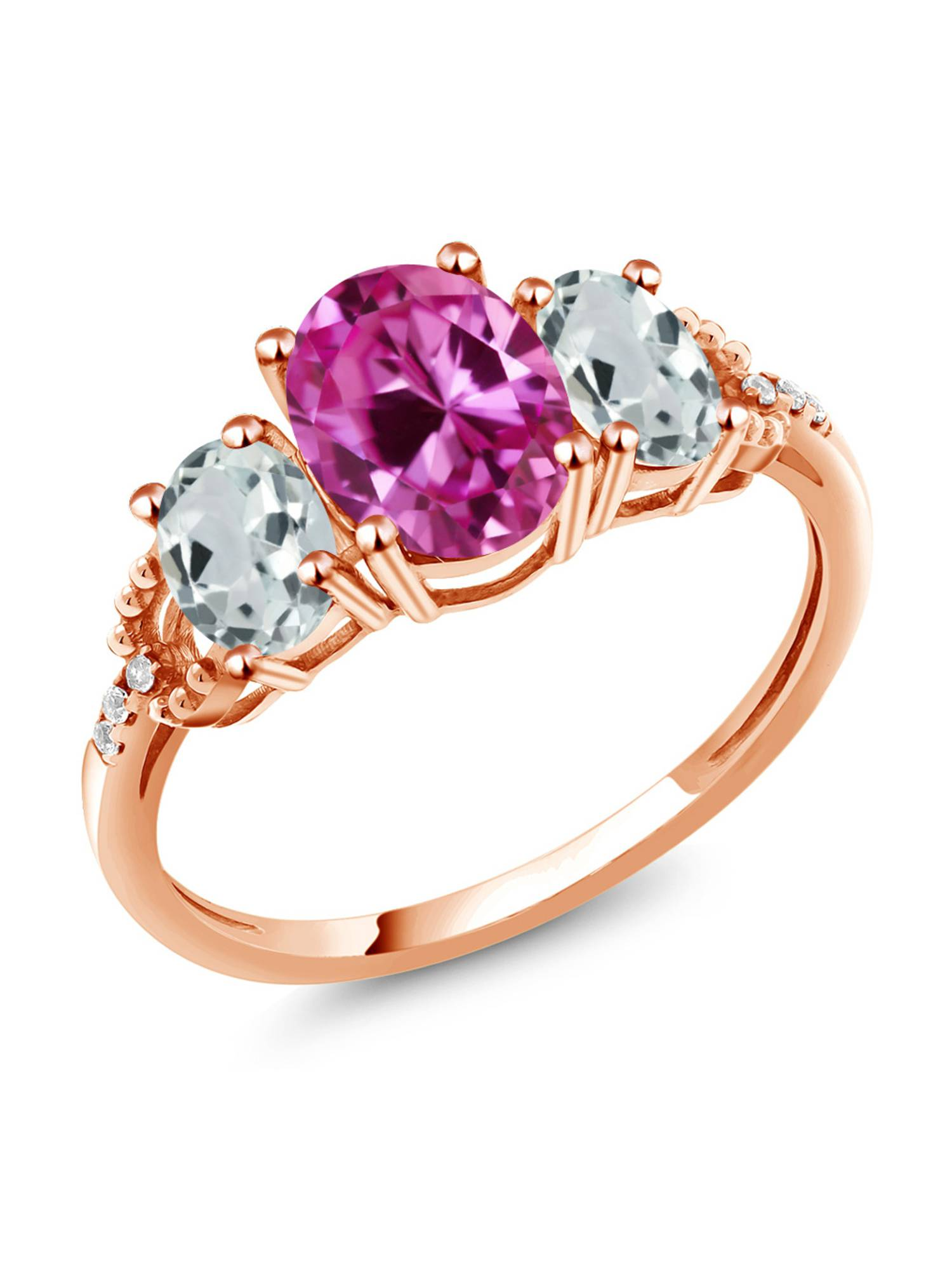 2.55 Ct Pink Created Sapphire Sky Aquamarine 10K Rose Gold Diamond Accent Ring by