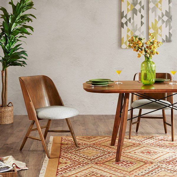 Madison Park Curtis Rubberwood Dining Chair In Pecan ...