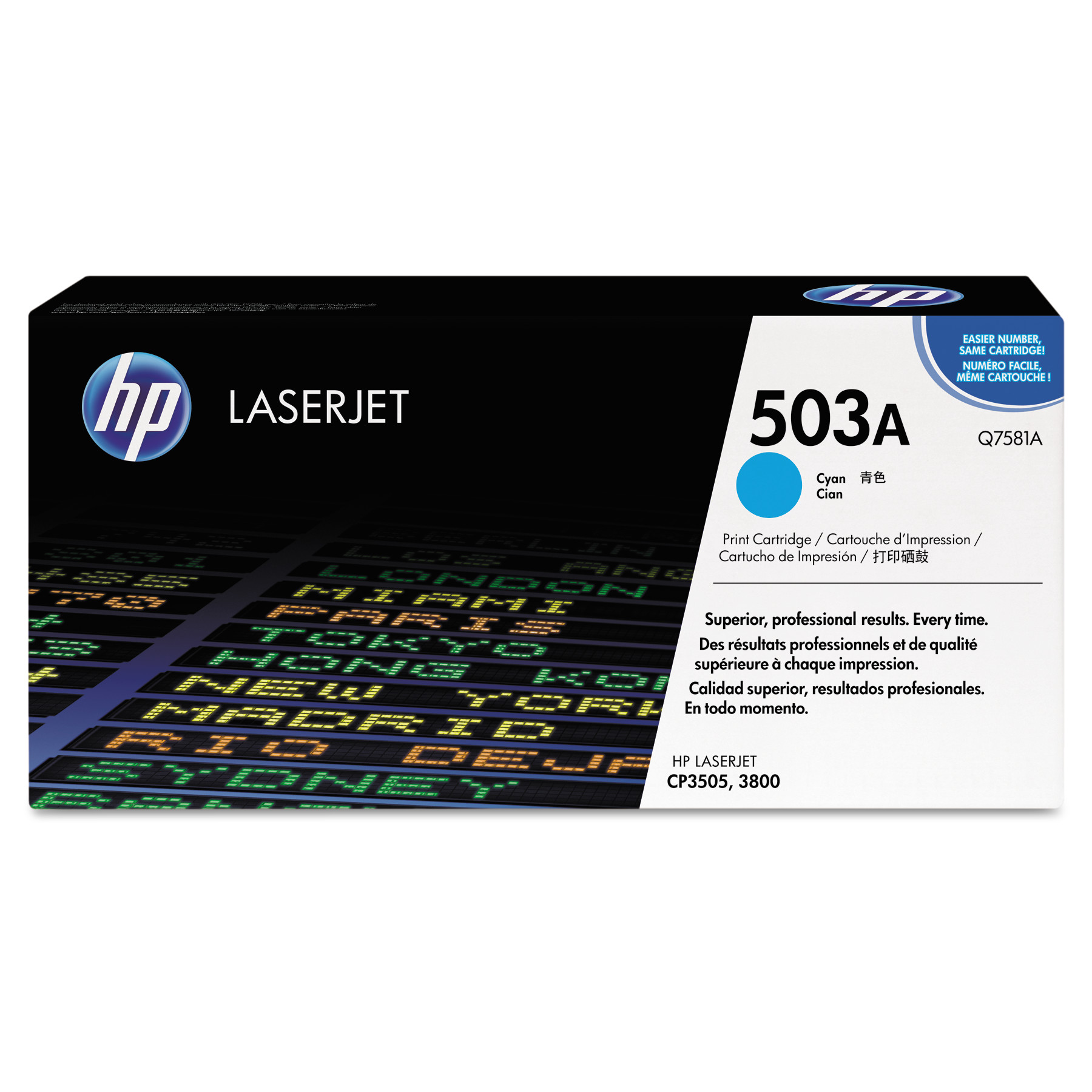 HP 503A, (Q7581A) Cyan Original LaserJet Toner Cartridge