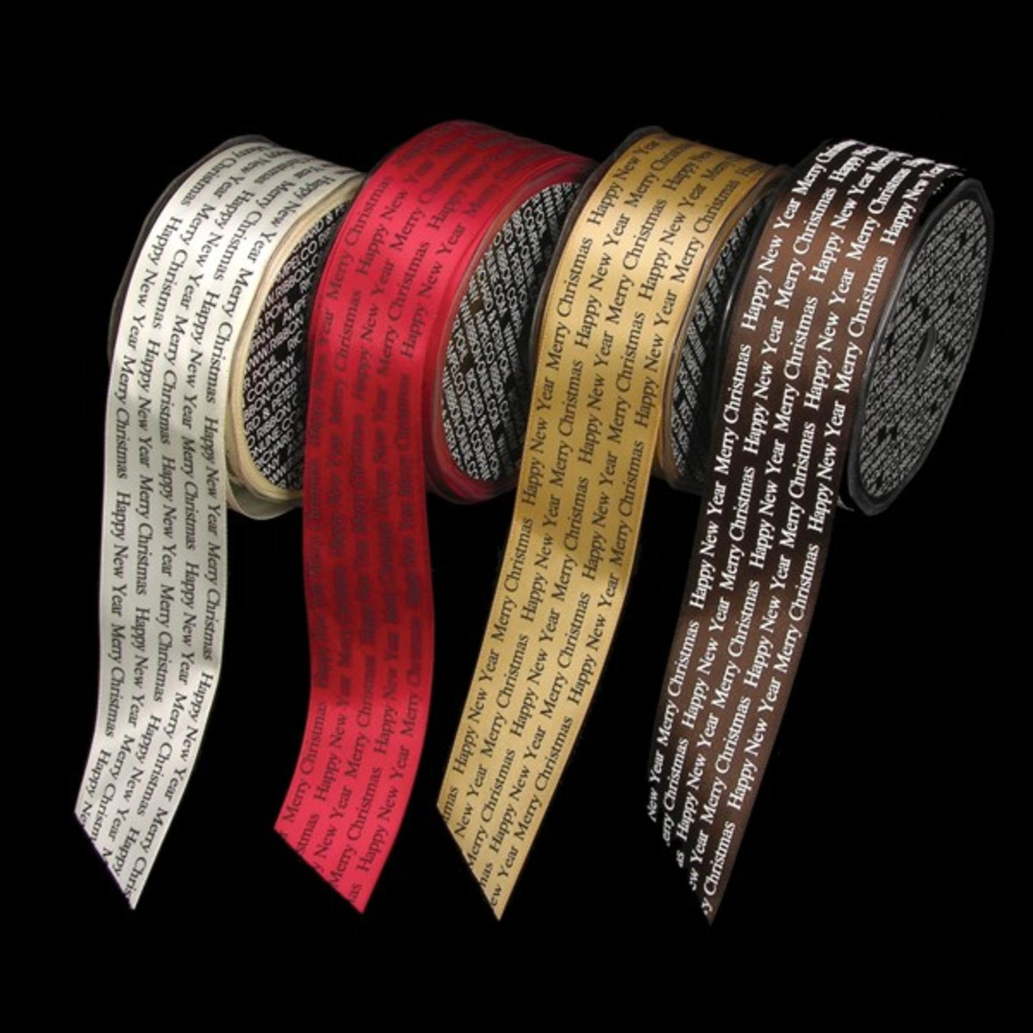 """Brown Merry Christmas and Happy New Year Print Satin Wired Craft Ribbon 1.5"""" x 54 Yards"""