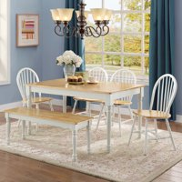 Better Homes and Gardens Autumn Lane 6-Piece Dining Set, White and Natural