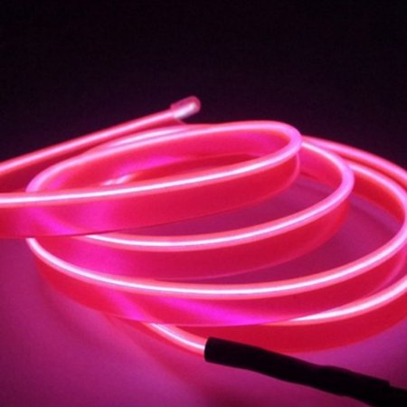 AkoaDa 3M Car Rgb Led El Wire Neon Glow Car Interior Atmosphere Strip Light Vehicle Decor (Pink Led Lights Car)