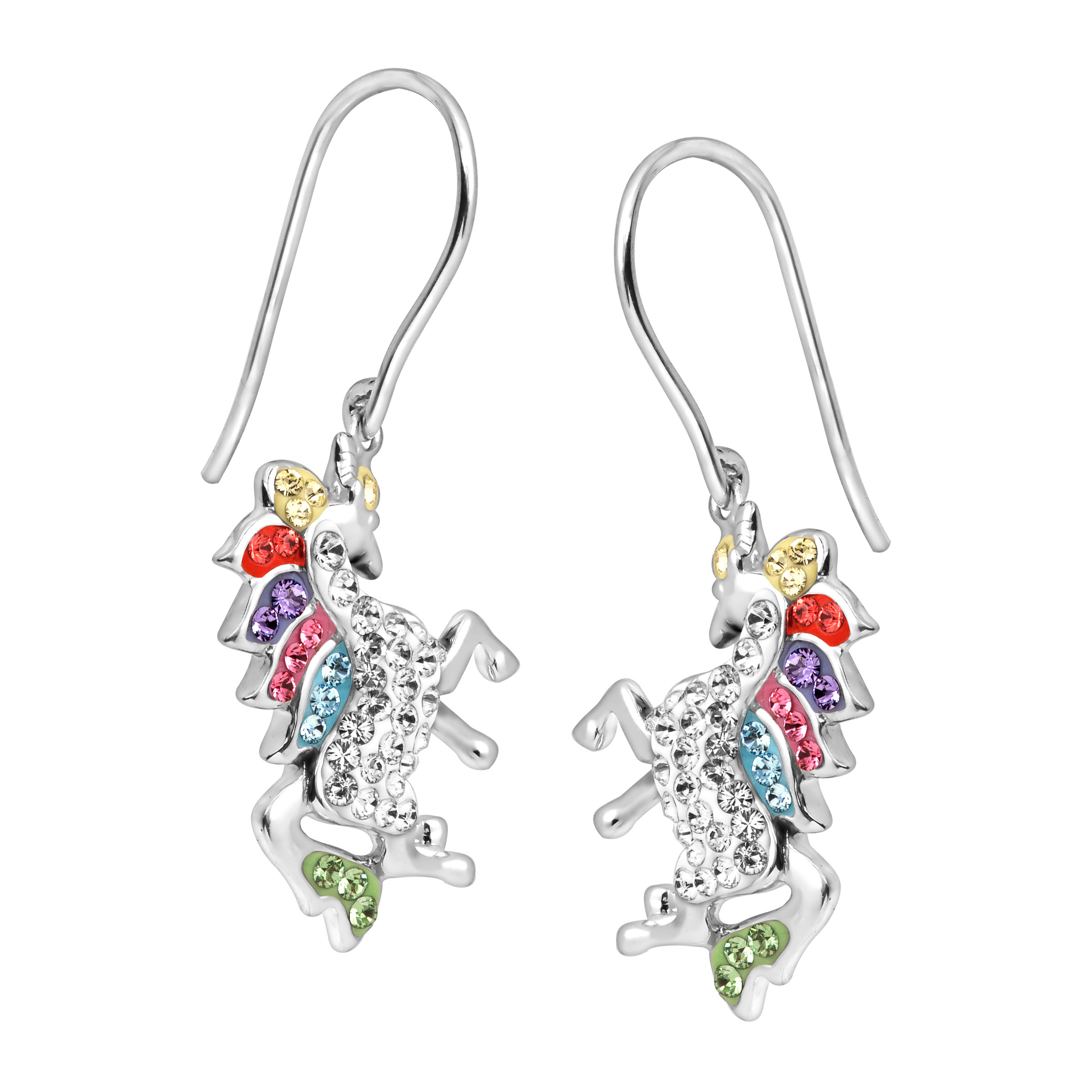 5cb20a9e6 Luminesse - Unicorn Drop Earrings with Swarovski Crystals in Sterling Silver  - Walmart.com