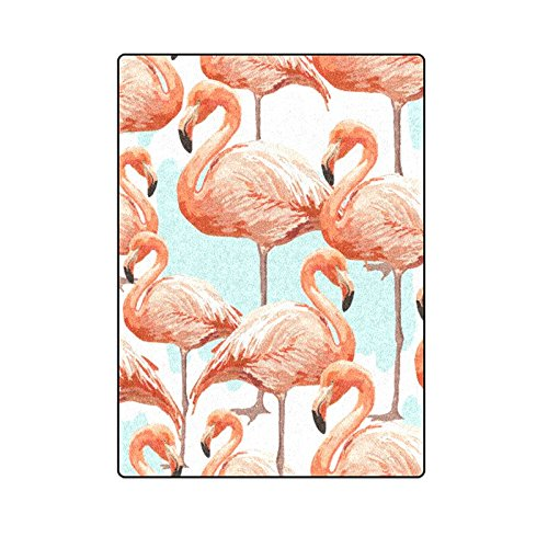 CADecor Tropical Pattern Background With Flamingo Blanket Throw Super Soft Warm Bed or Couch Blanket 58x80 inches