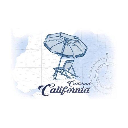 Carlsbad, California - Beach Chair and Umbrella - Blue - Coastal Icon Print Wall Art By Lantern (Carlsbad Mall)