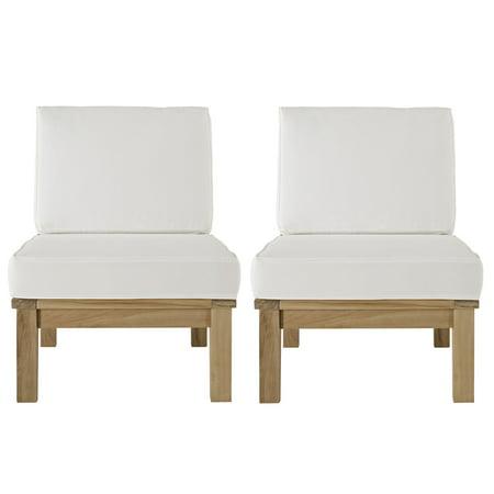 Modern Contemporary Two PCS Outdoor Patio Teak Sofa Set, White ...