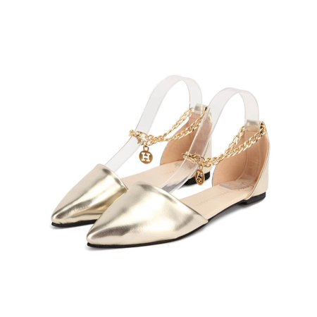 Gold Ballet Flats Toddler (Sexy Womens Pointed Toe Ballet Flat Ankle Metal Chain Loafer Casual Pumps Shoes Wedding Partywear Strap Outdoor)