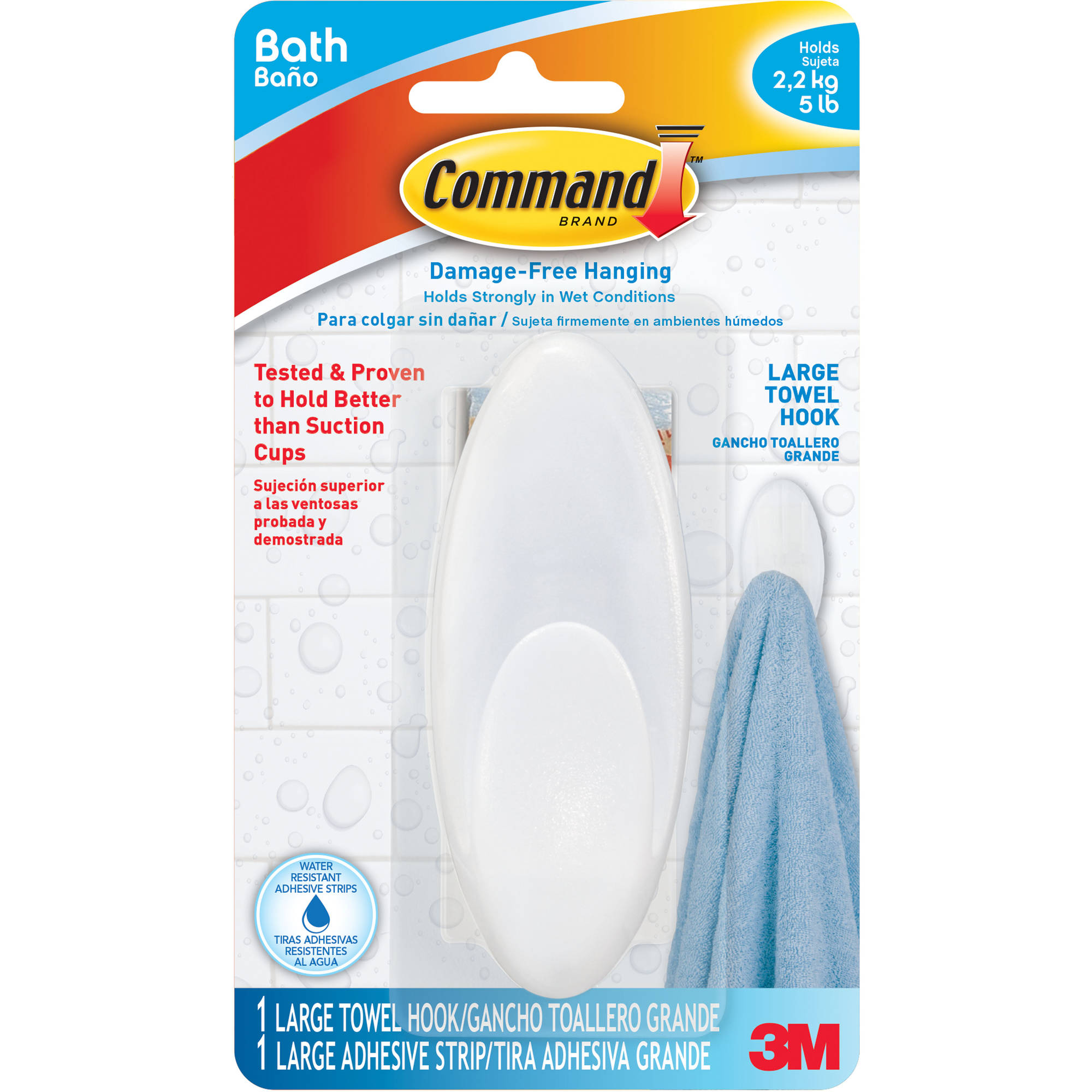 Command Large Towel Hook, 1 Hook, 1 Large Strip, BATH17
