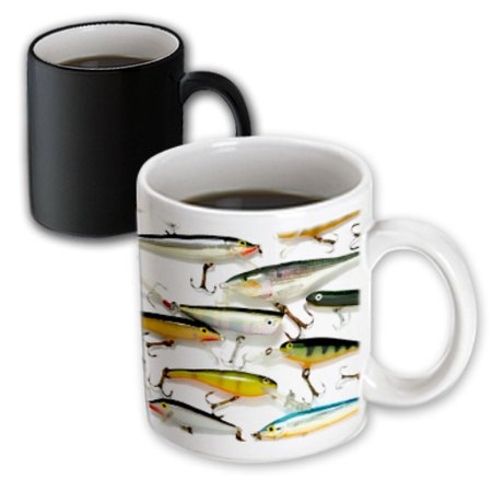 3dRose Fly fishing Lures, Magic Transforming Mug, 11oz
