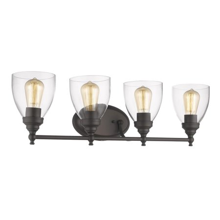 Bronze Six Light Bath Fixture (CHLOE Lighting ELISSA Transitional 4 Light Rubbed Bronze Bath Vanity Light Clear Glass 30