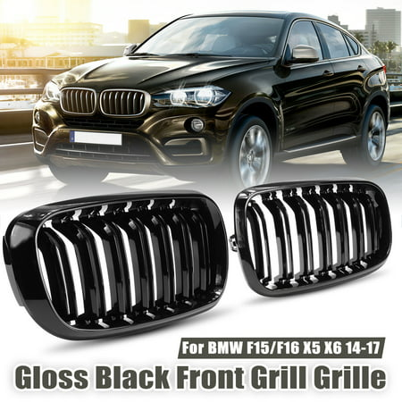 - Dual Slats Kidney Front Kindly Bumper Grill Grille Girlls Grilles For BMW X5 X6 Series F15 F16 2014-2018 Gloss Black