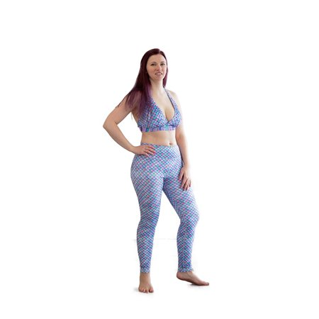 Sun Tail Mermaid Aurora Borealis Swimmable Leggings, Teen/Adult JS](Mermaid Pants)