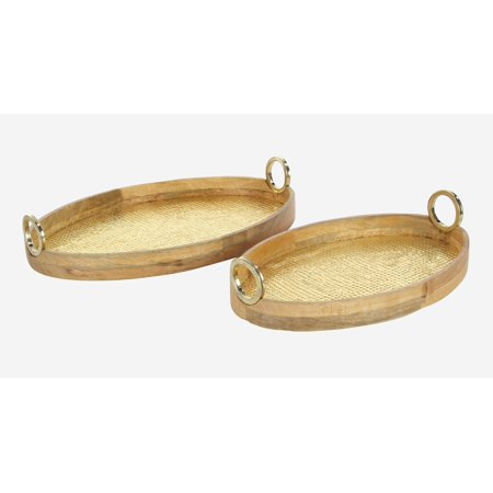 Queen Anne Large Oval Tray - Decmode Traditional 24 And 28 Inch Oval Wood And Brass Trays With Round Metal Handles - Set Of 2
