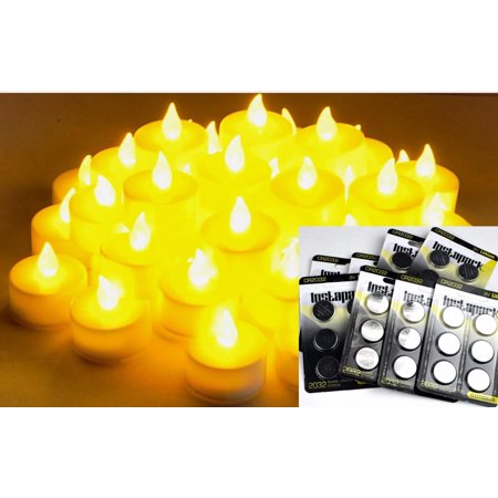 Instapark® LCL-48E Battery-powered Flameless LED Tealight Candles, 4-Dozen Pack