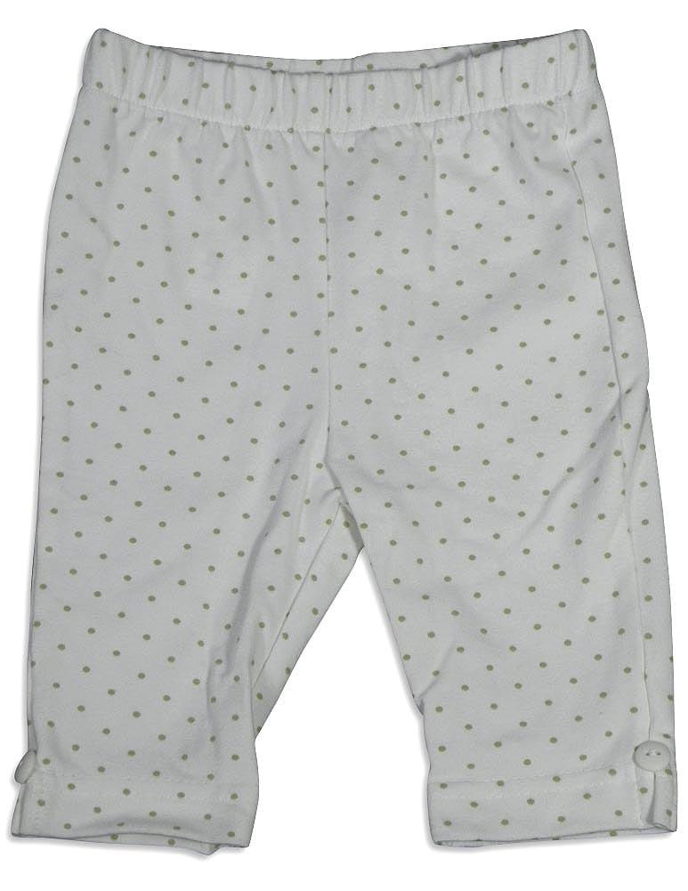Mulberribush Infant Girls Polka Dot Elastic Waist Capri Cropped Pant Bottoms, 27010 White Polka Dot / 12Months