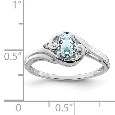 925 Sterling Silver Rhodium Plated Diamond and Aquamarine Ring - image 1 de 2