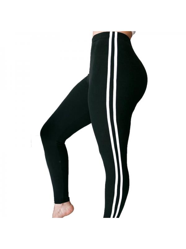 Ropalia Women Casual Yoga Sports Pants High Waist Elastic Drawstring Striped Trousers