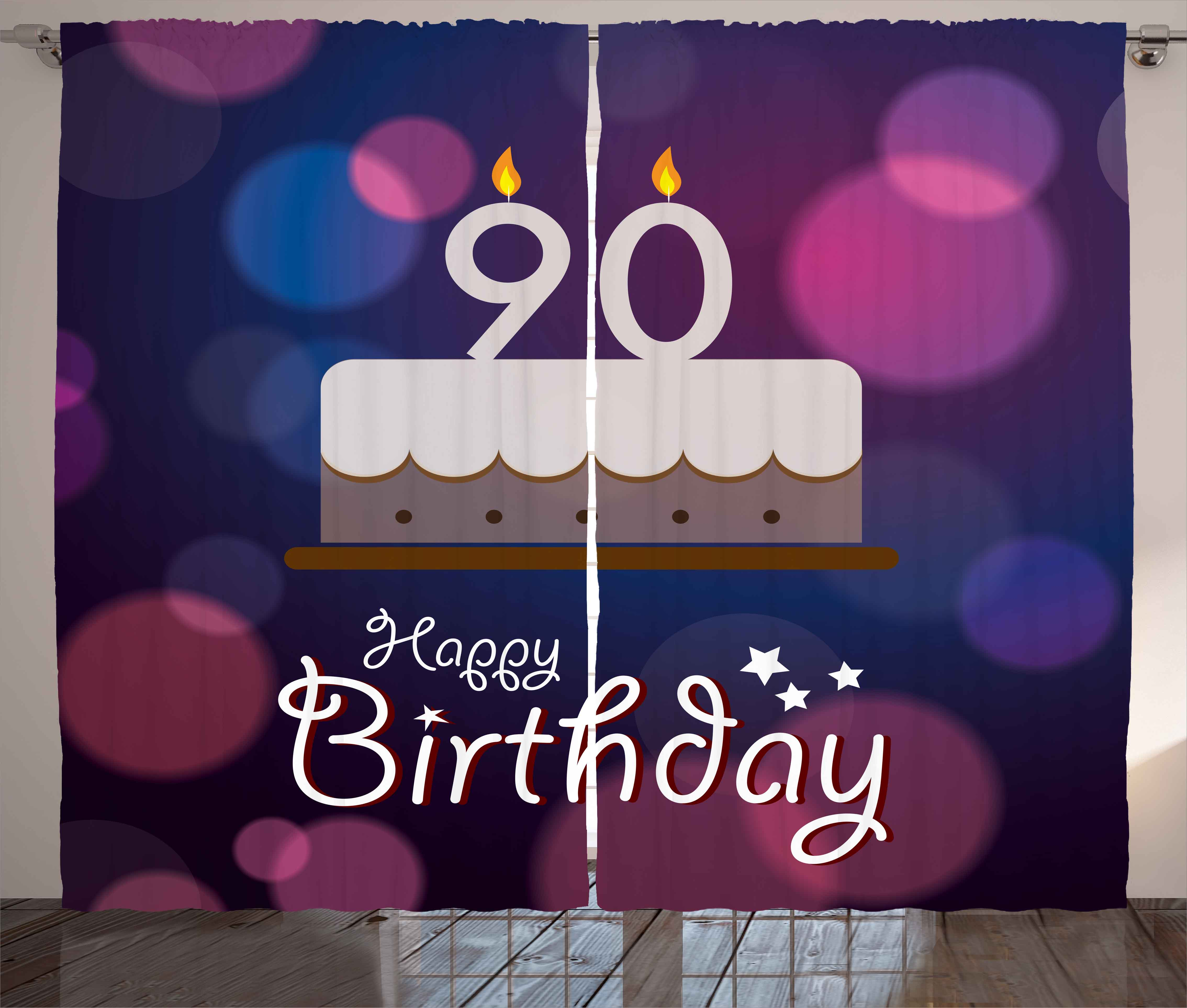 90th Birthday Curtains 2 Panels Set Dreamy Layout with Color Spots