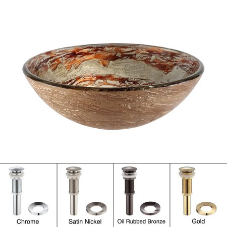 KRAUS Ares Glass Vessel Sink in Brown and Gray with Pop-Up Drain and Mounting Ring in Oil Rubbed Bronze