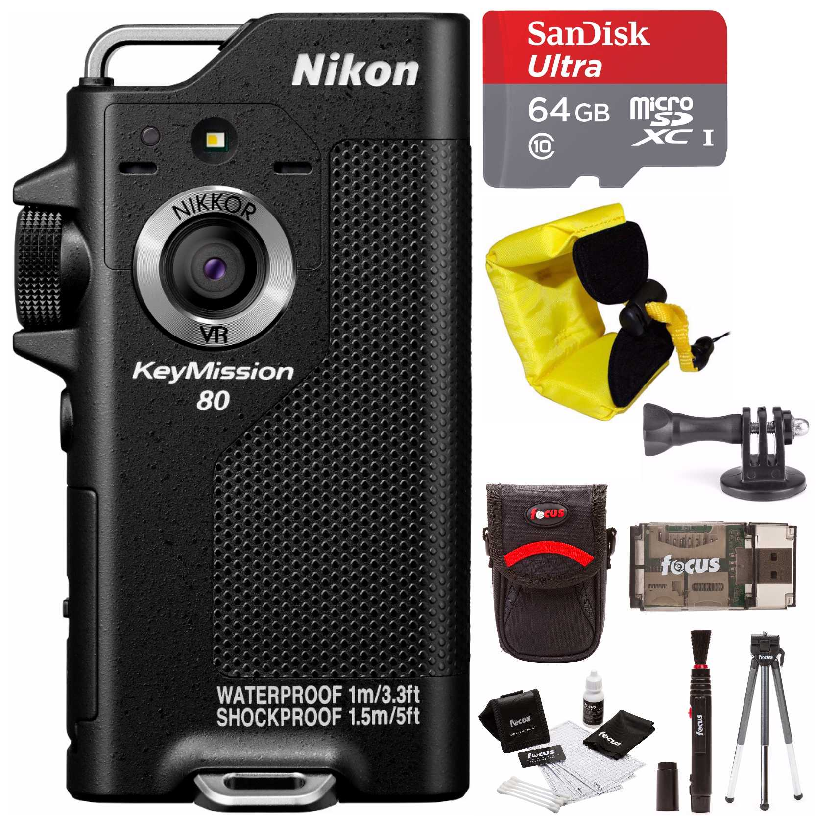 Nikon KeyMission 80 Action Waterproof Camera with 64GB Card and Accessory Bundle