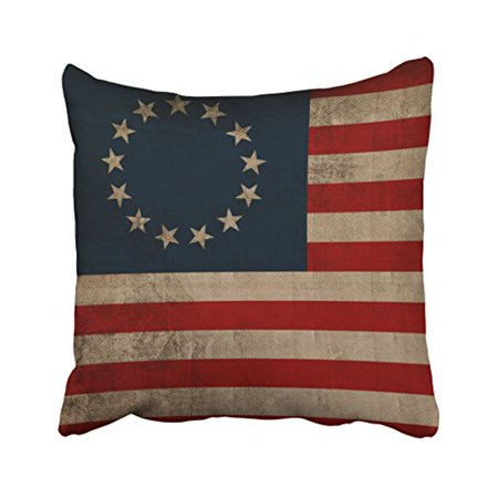 WinHome Old Traditional Vogue Vintage Look Early American Flag Polyester 18 x 18 Inch Square Throw Pillow Covers With Hidden Zipper Home Sofa Cushion Decorative Pillowcases