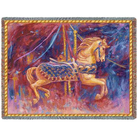 Pure Country Weavers Grande - Pure Country Weavers Carousel Horse Cotton Tapestry Throw Blanket