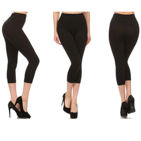 Seamless Capri Leggings - 5 Pc Leggings Capri Womens Bottom Seamless Stretch Yoga Pants Exercise Gym Black
