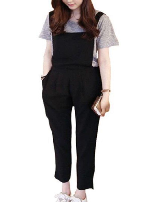 Babula Women Strap Harem Jumpsuit Pants Trousers Overalls Black