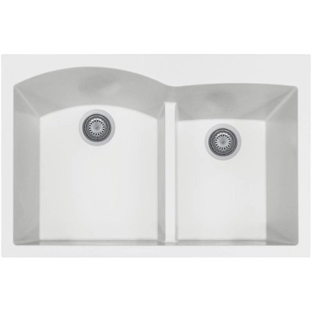 Houzer P-175 Quartztone Series Top-Mount Double-Bowl Granite Kitchen Sink, Cloud White Bathroom Granite Double Sink
