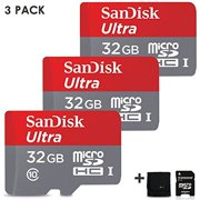 3 Pack SanDisk 32GB Micro SD Memory Card (96gb Total) UHS-I Class 10 98MB/s + Memory Card Wallet + Micro SD Card Adapter